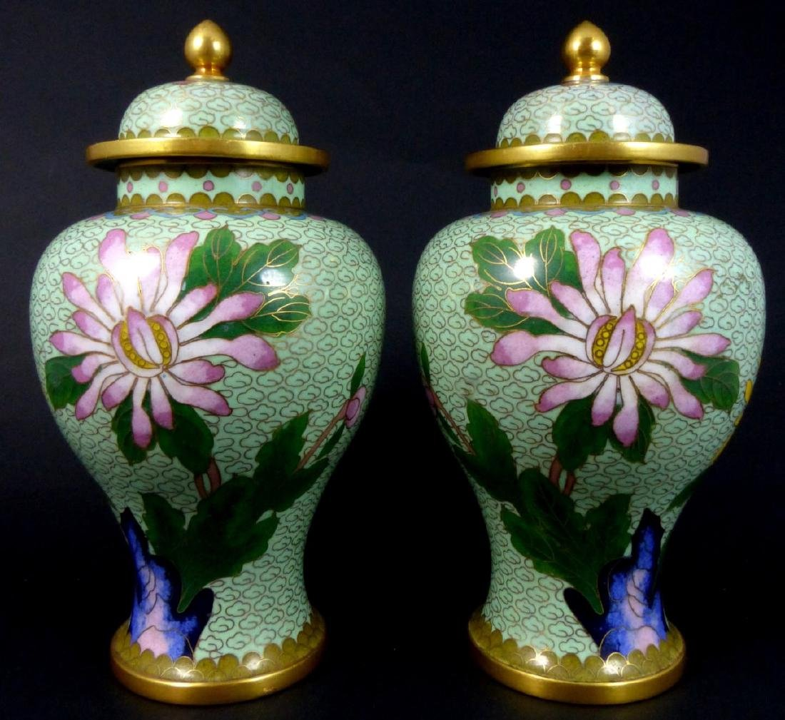 PR CHINESE CLOISONNE LIDDED URNS - 3