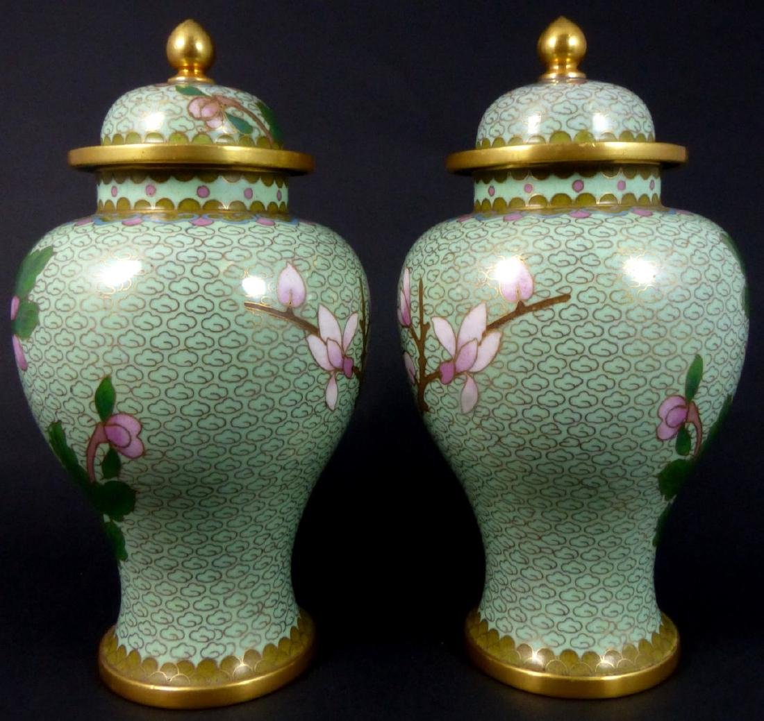 PR CHINESE CLOISONNE LIDDED URNS - 4