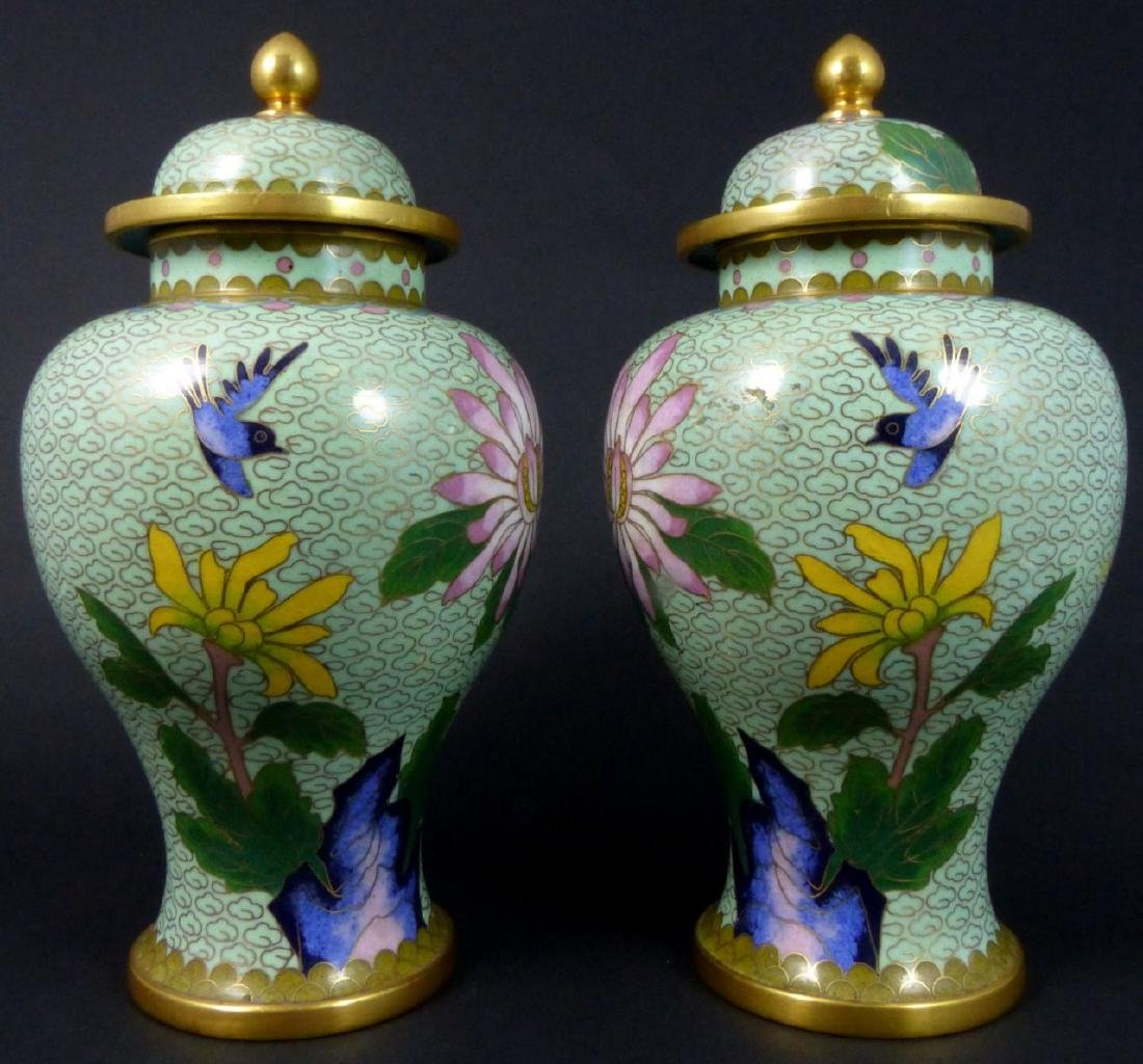 PR CHINESE CLOISONNE LIDDED URNS - 6