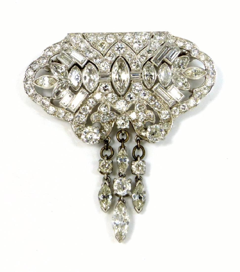 11.27ctw DIAMOND & PLATINUM ART DECO BROOCH