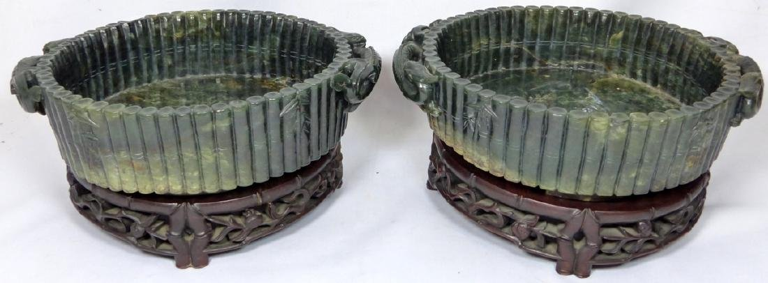 PR CHINESE SPINACH JADE MARRIAGE BOWLS