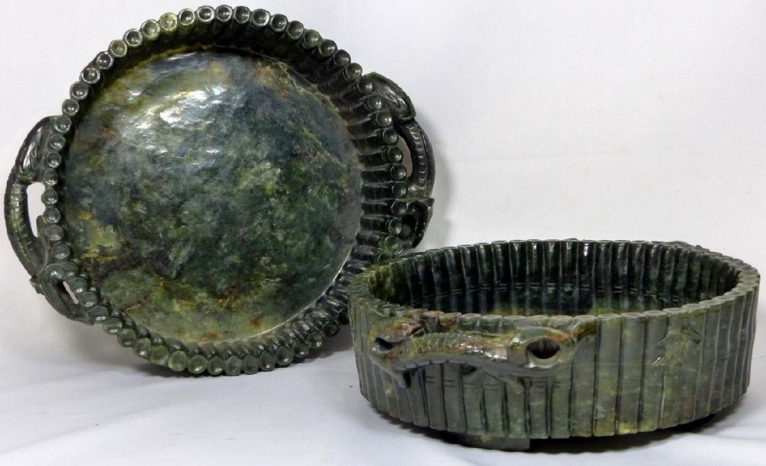 PR CHINESE SPINACH JADE MARRIAGE BOWLS - 9