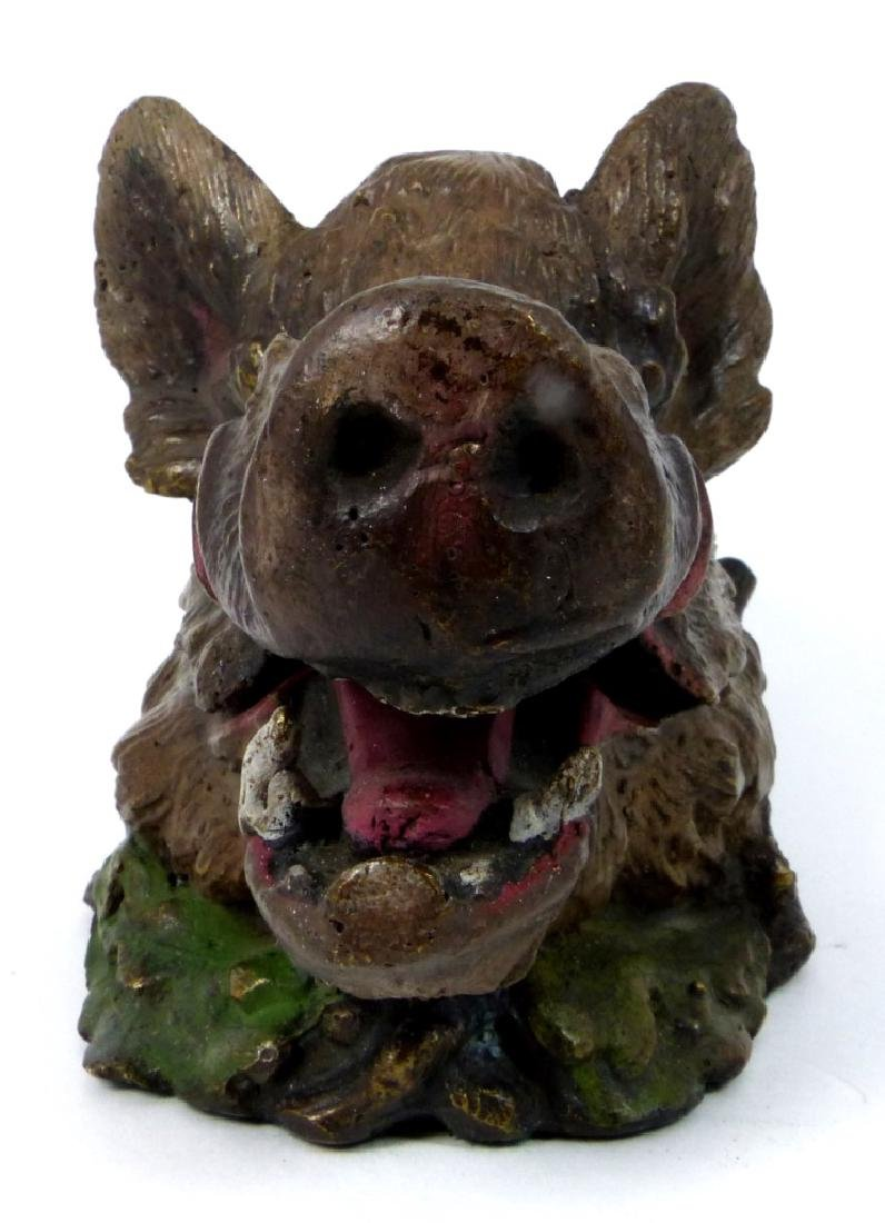 BRONZE BOAR HEAD INKWELL AFTER CHRISTOPHE FRATIN - 2