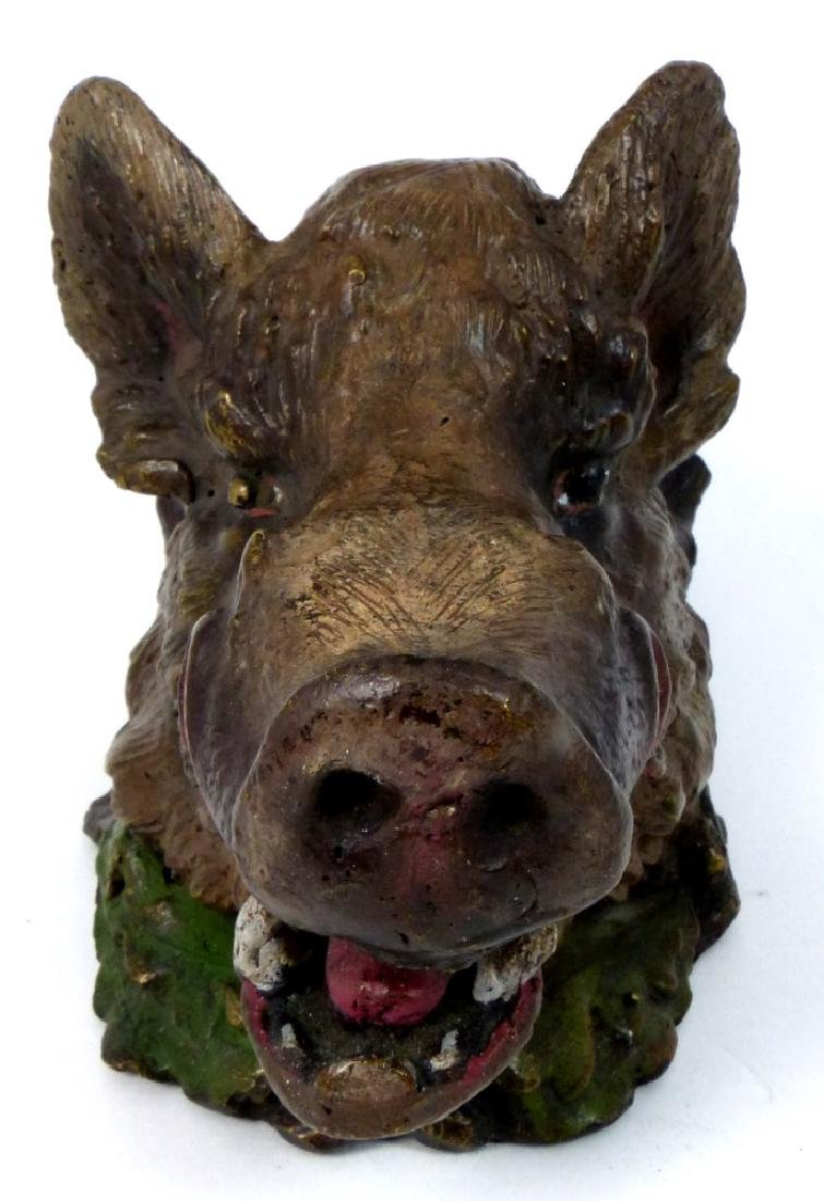 BRONZE BOAR HEAD INKWELL AFTER CHRISTOPHE FRATIN - 3