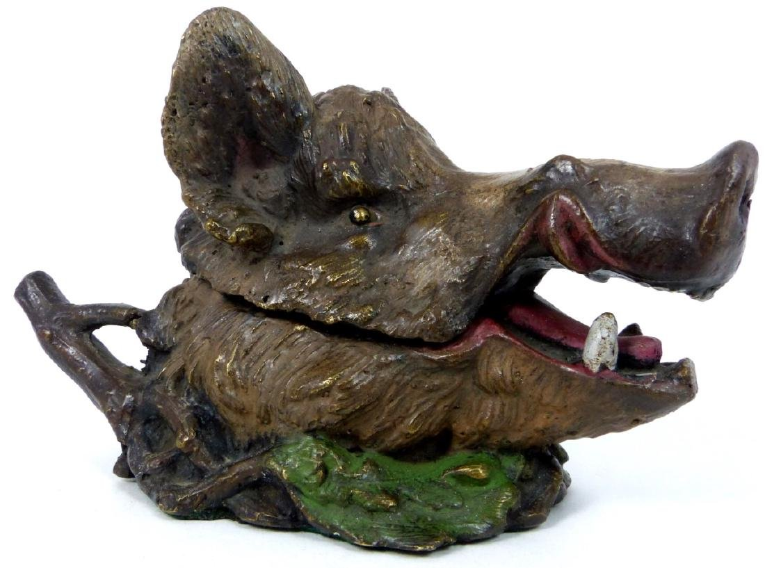 BRONZE BOAR HEAD INKWELL AFTER CHRISTOPHE FRATIN - 7