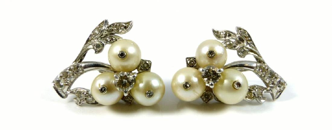 PLATINUM PEARL & DIAMOND ART DECO EARRINGS