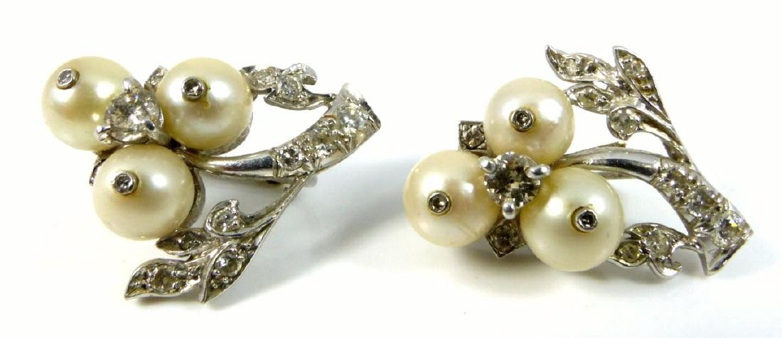 PLATINUM PEARL & DIAMOND ART DECO EARRINGS - 3