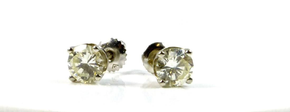 PR 14kt WG DIAMOND STUD EARRINGS 2ctw SI-2 / J