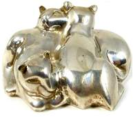 TIFFANY  CO STERLING SILVER 3 CAT PAPERWEIGHT