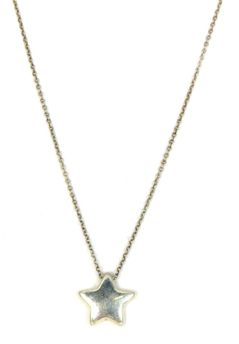 TIFFANY & CO STERLING STAR PENDANT w NECKLACE