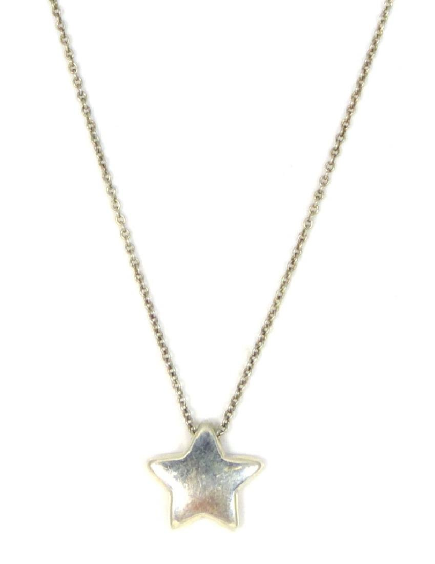 TIFFANY & CO STERLING STAR PENDANT w NECKLACE - 2