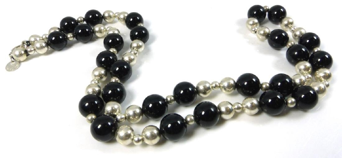 TIFFANY & CO ONYX STERLING SILVER BEADED NECKLACE
