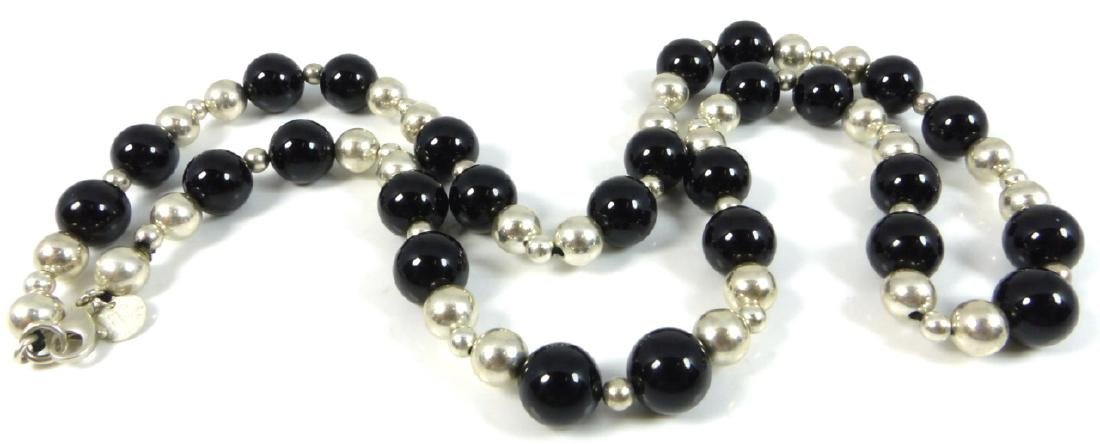 TIFFANY & CO ONYX STERLING SILVER BEADED NECKLACE - 2