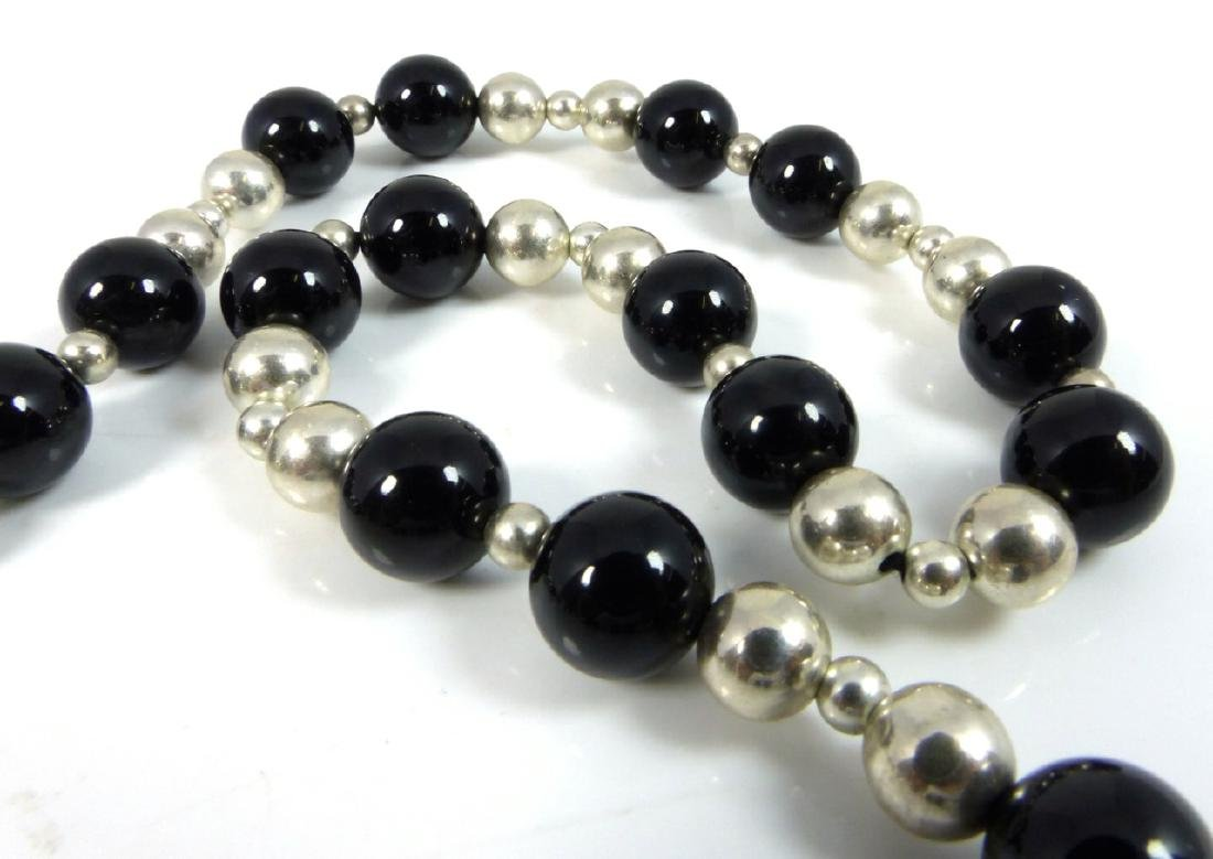 TIFFANY & CO ONYX STERLING SILVER BEADED NECKLACE - 3