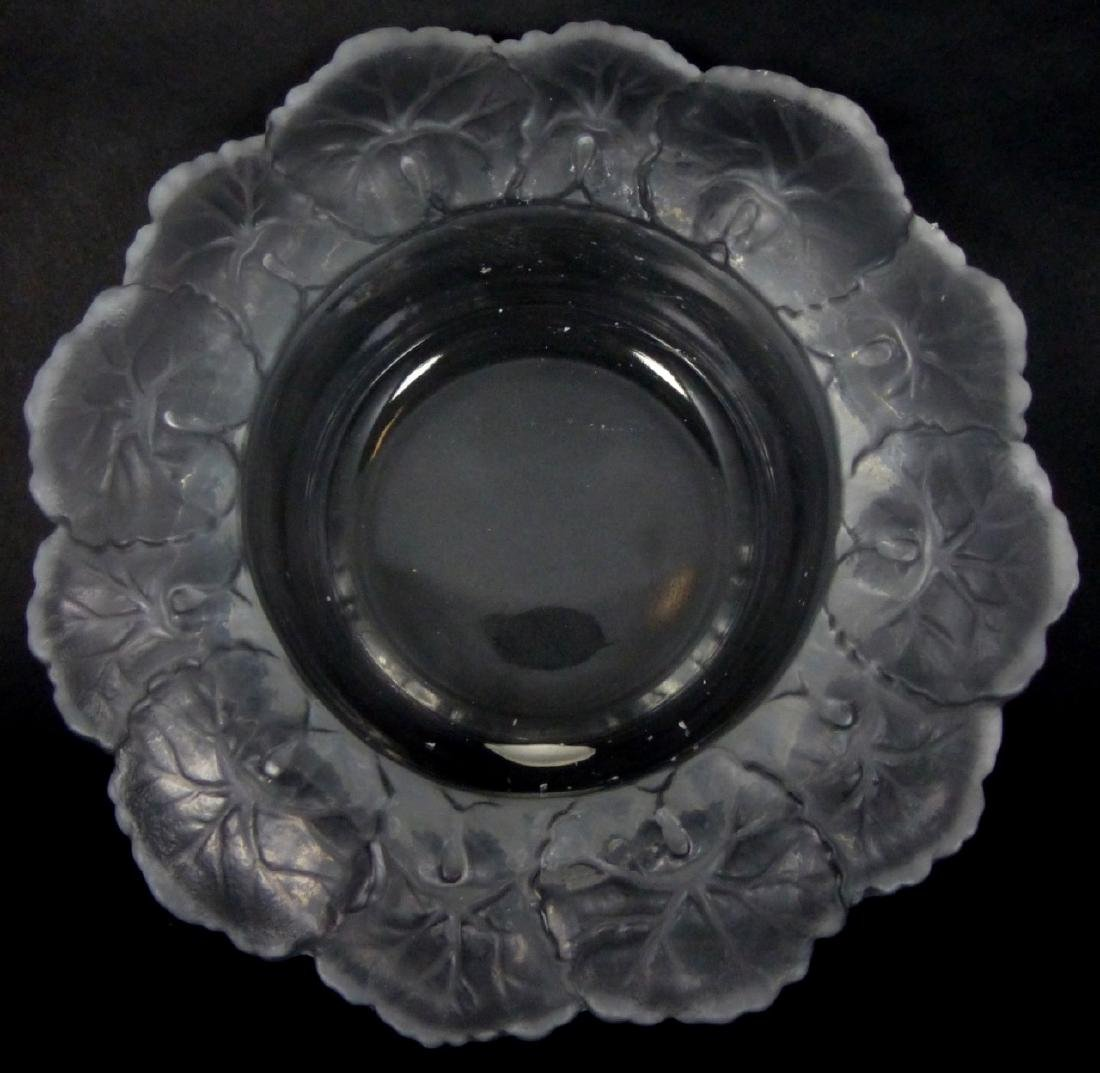 LALIQUE STYLE BEGONIA LEAF FROSTED CRYSTAL BOWL