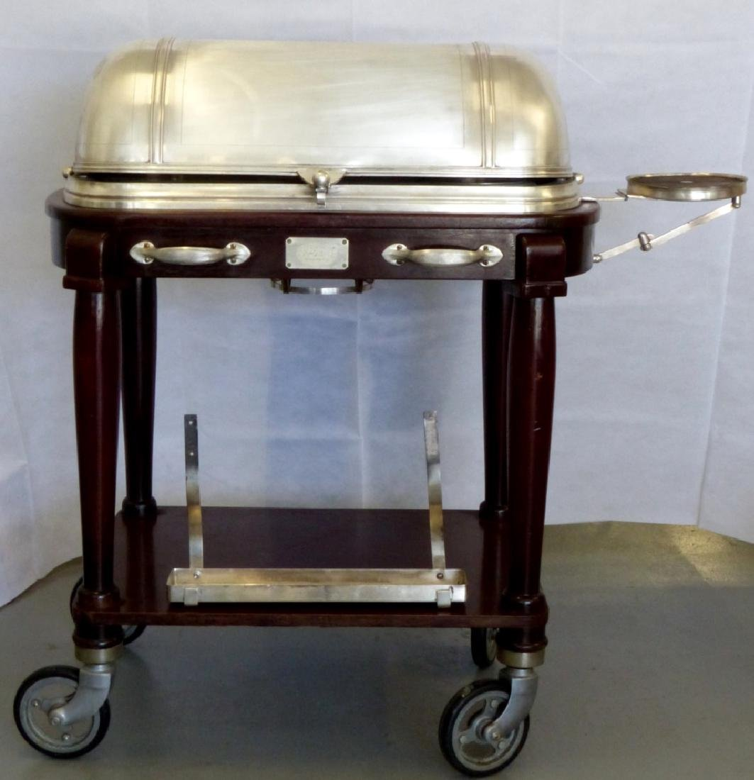 CHRISTOFLE SILVERPLATE & WOOD SERVING TROLLEY