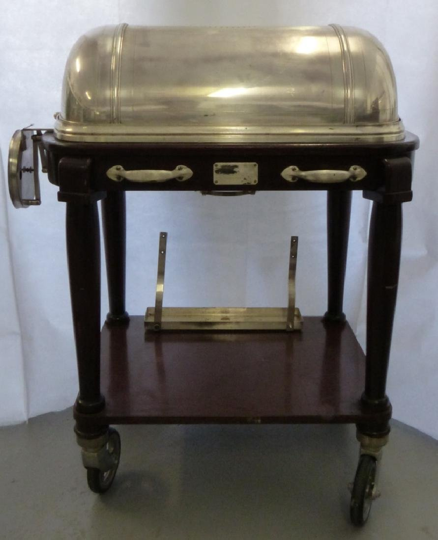 CHRISTOFLE SILVERPLATE & WOOD SERVING TROLLEY - 7