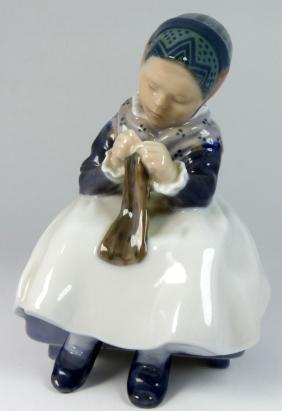 Royal Copenhagen 'girl Knitting' Porcelain Figure