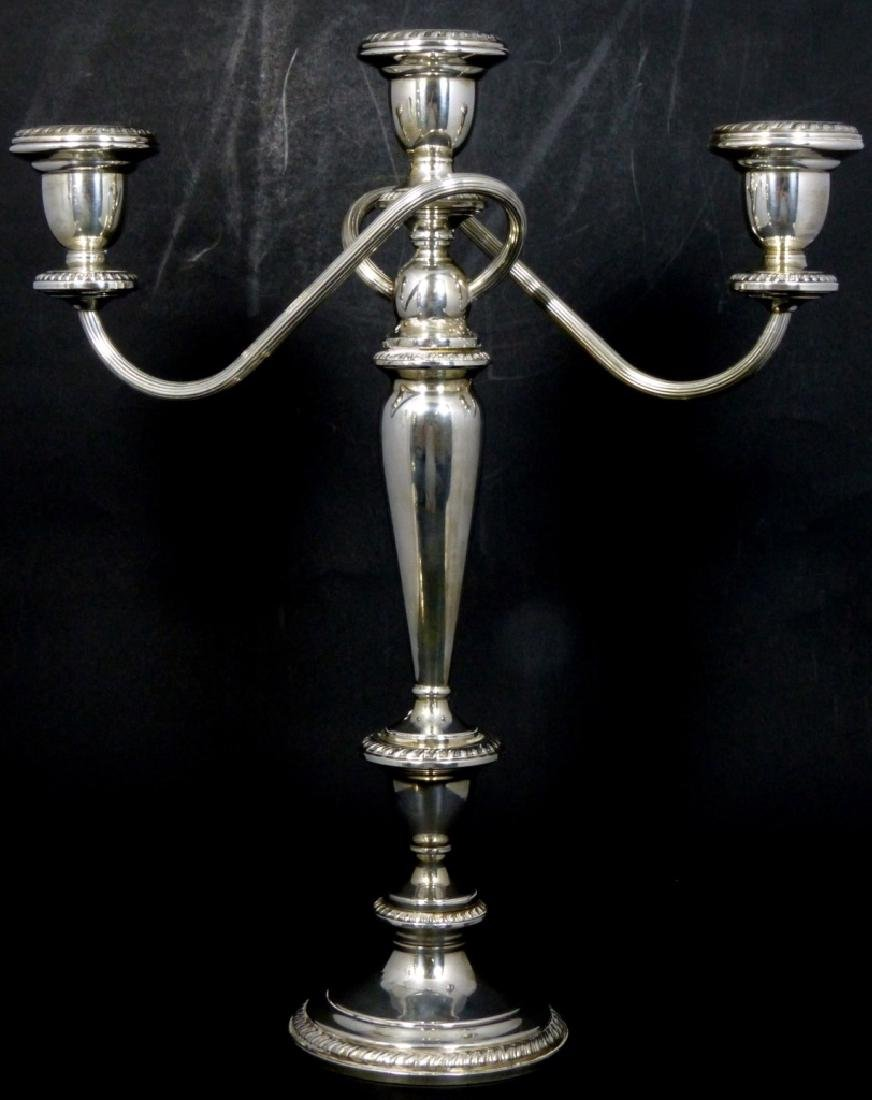 PR POOLE STERLING SILVER 3-LIGHT CANDELABRA - 4