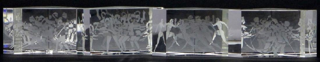 4pc STEUBEN ART GLASS OLYMPIC PAPERWEIGHTS