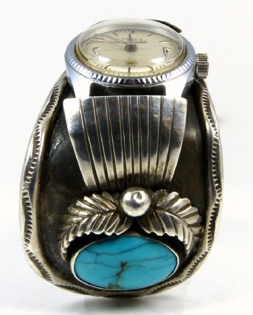 NAVAJO STERLING TURQUOISE WATCH CUFF - 2