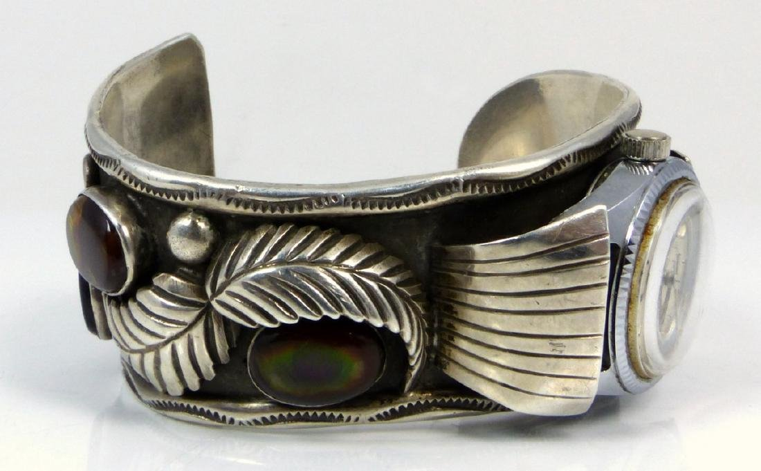 NAVAJO STERLING TURQUOISE WATCH CUFF - 5