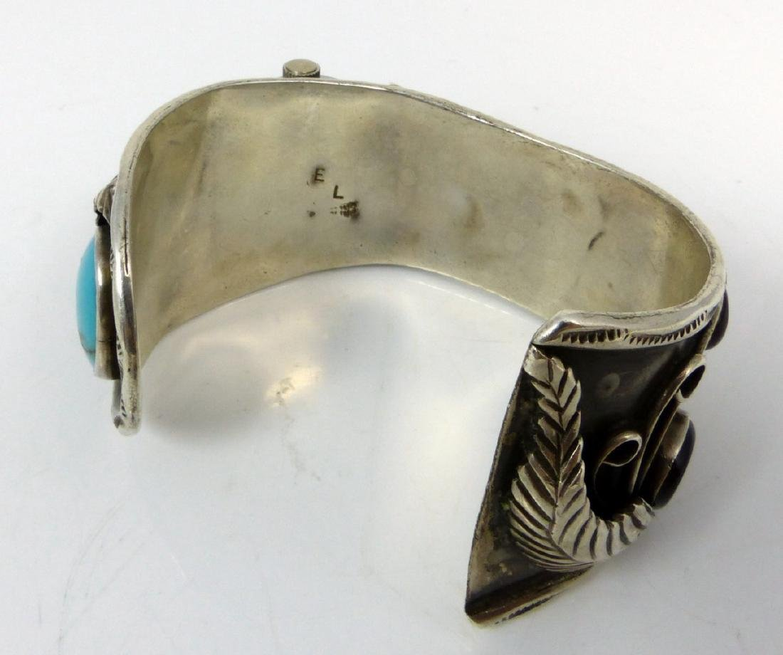 NAVAJO STERLING TURQUOISE WATCH CUFF - 6