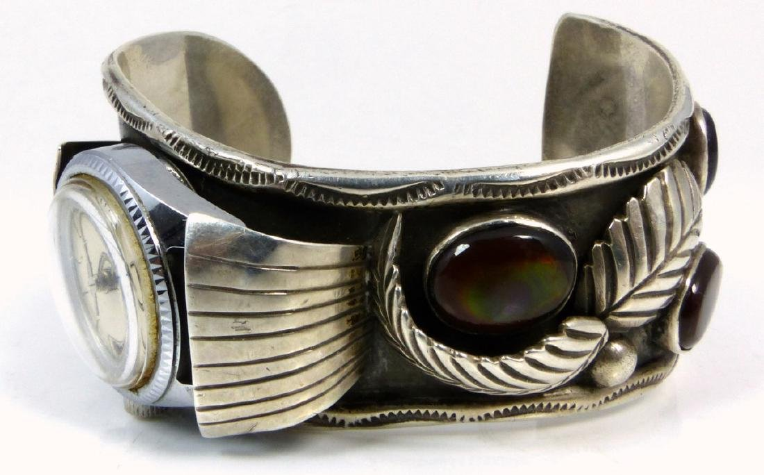 NAVAJO STERLING TURQUOISE WATCH CUFF - 7