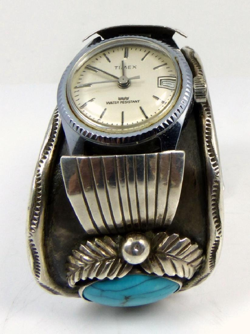 NAVAJO STERLING TURQUOISE WATCH CUFF - 8