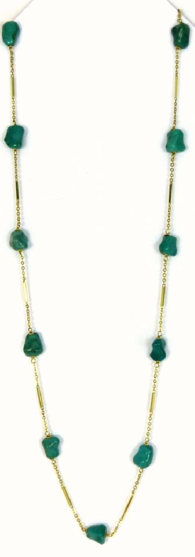 14kt YELLOW GOLD & TURQUOISE BEAD NECKLACE