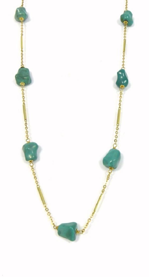 14kt YELLOW GOLD & TURQUOISE BEAD NECKLACE - 2