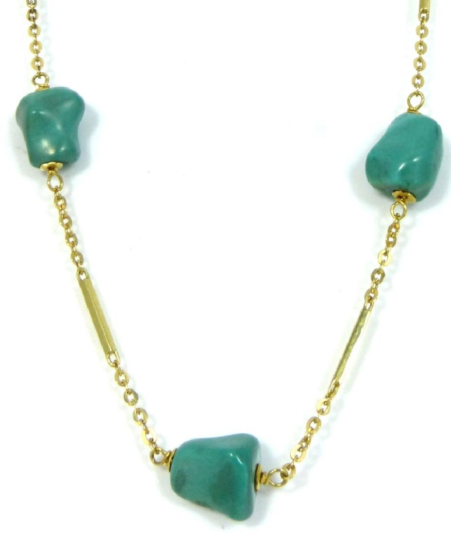 14kt YELLOW GOLD & TURQUOISE BEAD NECKLACE - 3