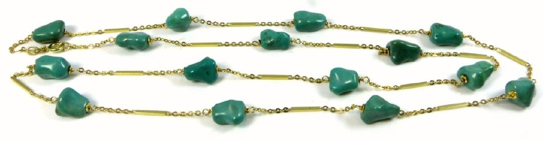 14kt YELLOW GOLD & TURQUOISE BEAD NECKLACE - 5