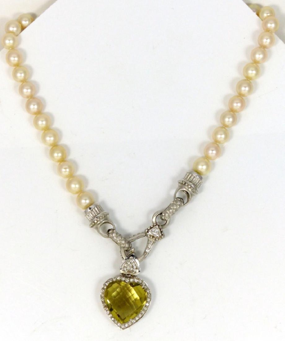 14kt WHITE GOLD DIAMOND PERIDOT & PEARL NECKLACE