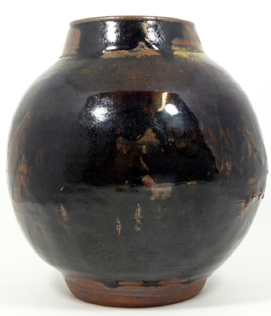 BLACK & BROWN GLAZED STUDIO POTTERY VASE - 2