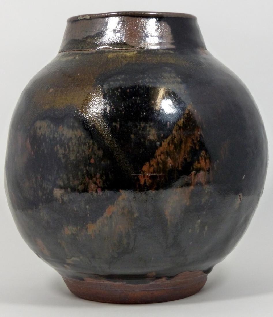BLACK & BROWN GLAZED STUDIO POTTERY VASE - 3