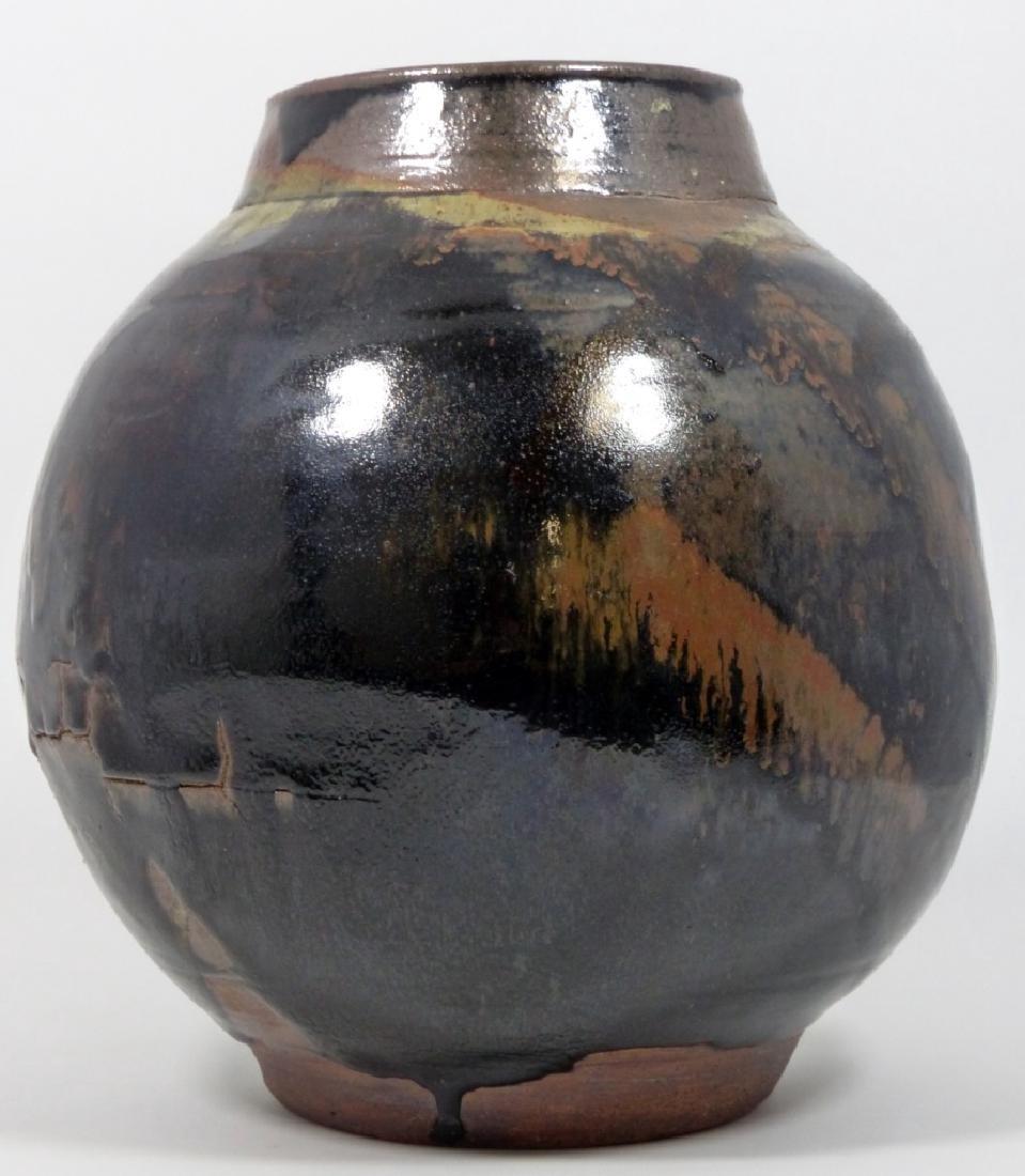 BLACK & BROWN GLAZED STUDIO POTTERY VASE - 5