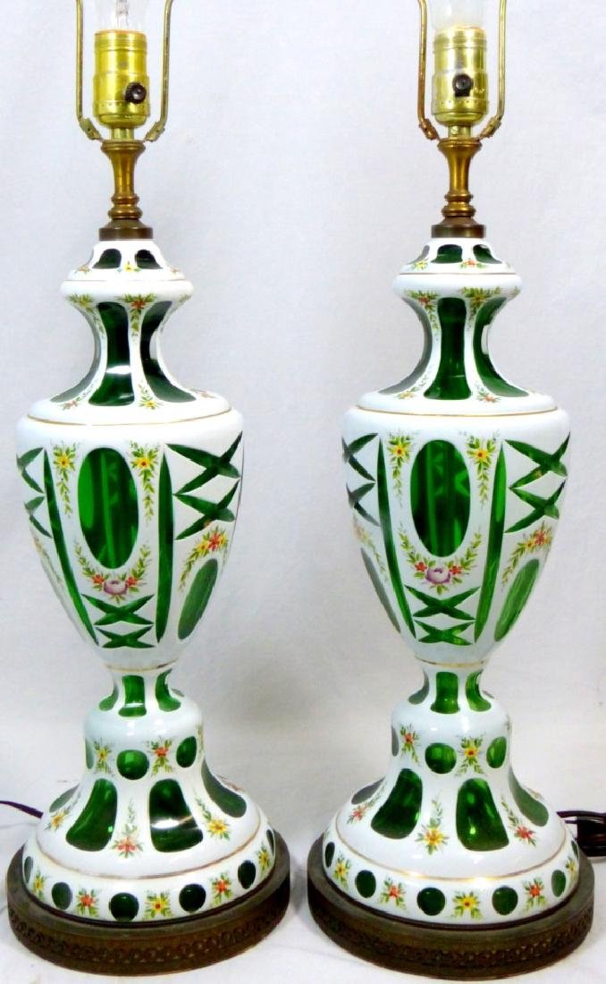 PR BOHEMIAN ENAMELED CUT TO GREEN ENAMELED LAMPS