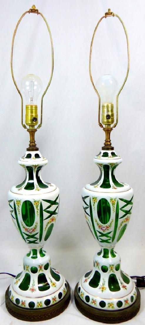 PR BOHEMIAN ENAMELED CUT TO GREEN ENAMELED LAMPS - 6