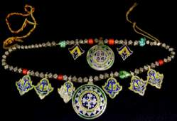 TRIBAL INDIAN SILVER NECKLACE ENAMEL CORAL TURQ