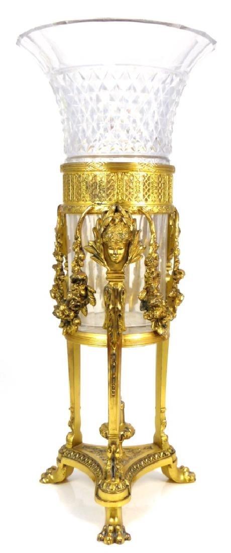 PAIRPOINT GOLD GILT CENTERPIECE w CRYSTAL VASE