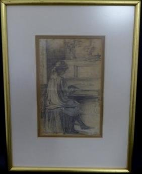 19th C Pencil Drawing 'girl Playing Piano' Signed