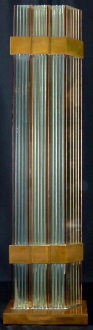 RUNSTADLER STUDIOS GLASS PANEL & BRASS SCULPTURE - 3