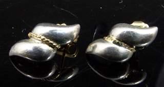 PR TIFFANY & CO STERLING 14kt YG SWIRL EARRINGS