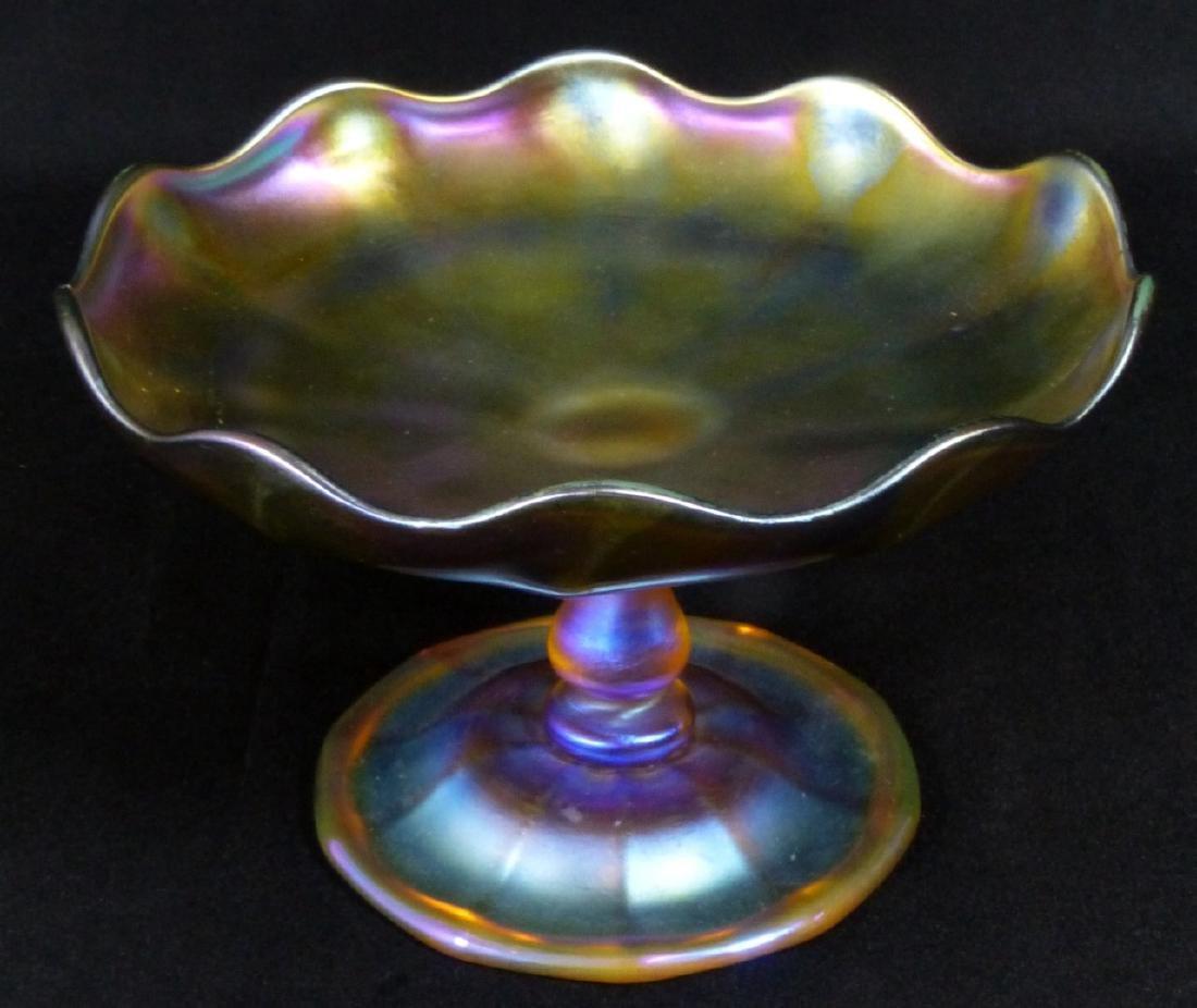 L.C. TIFFANY FAVRILLE GLASS COMPOTE - 2