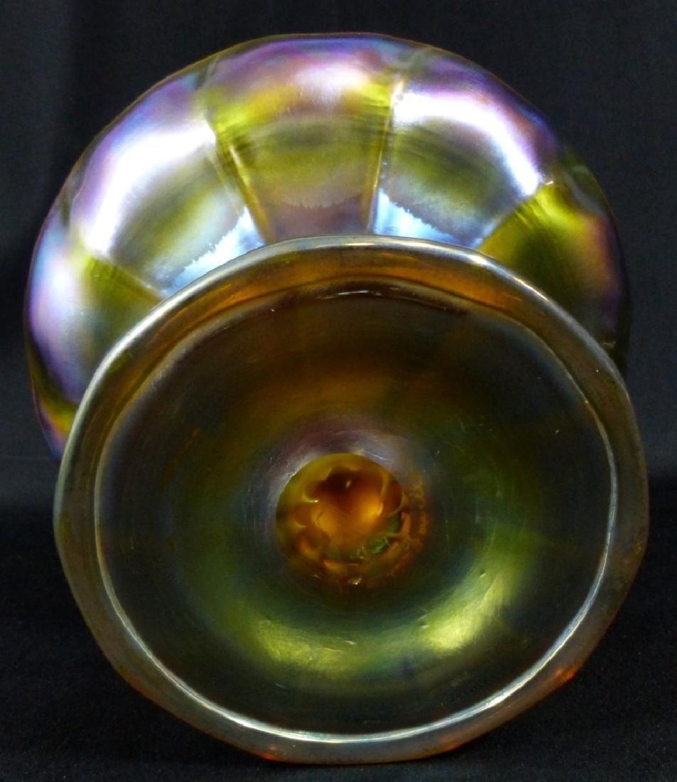 L.C. TIFFANY FAVRILLE GLASS COMPOTE - 6