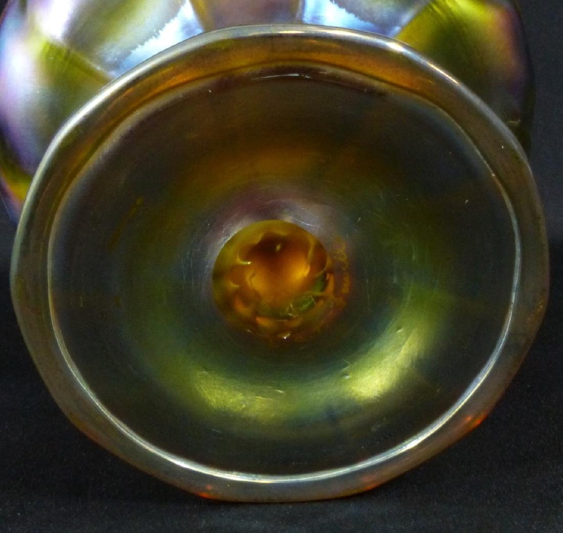 L.C. TIFFANY FAVRILLE GLASS COMPOTE - 7