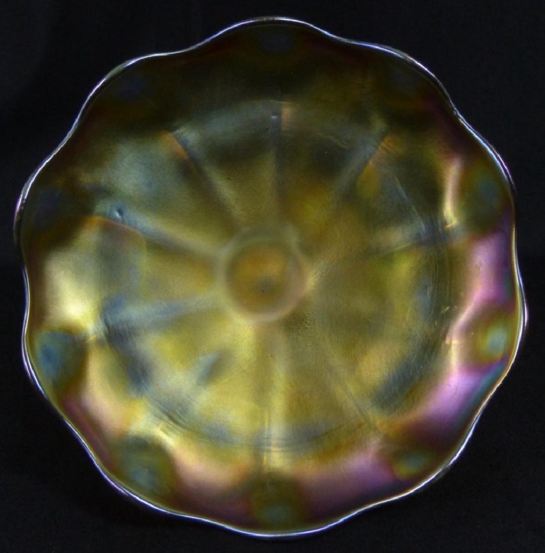 L.C. TIFFANY FAVRILLE GLASS COMPOTE - 9