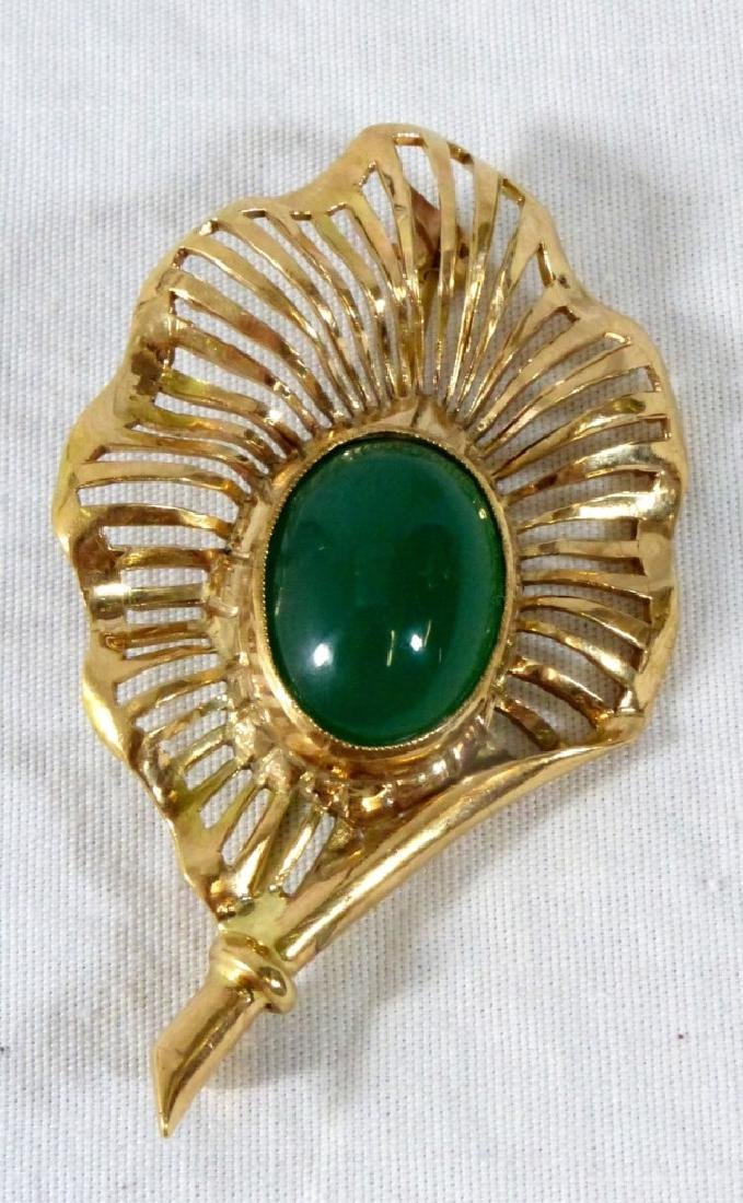 JADE 14kt YELLOW GOLD SPRAY BROOCH - 5