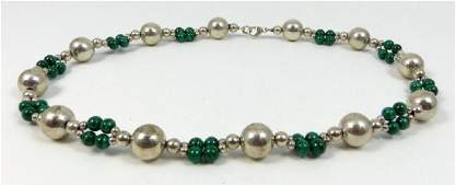 VINTAGE TIFFANY & CO STERLING MALACHITE BEADED NECKLACE